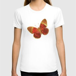 Gold Glitter Scarlet Red Butterfly Design T-shirt