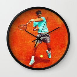 Rafael Nadal Tennis On Clay Wall Clock