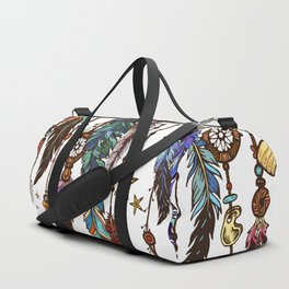 Feathers and crystals in aztec style Duffle Bag