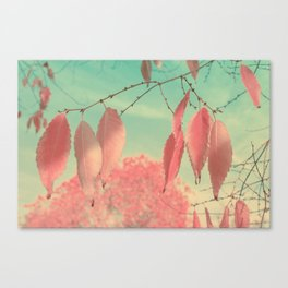 Flamingo Pink Autumn Leaves Canvas Print