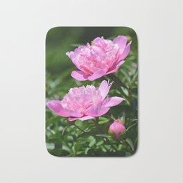 Pink Peony Pair Flower Photography - Bring the Outdoors In Bath Mat