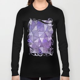 Purple Lilac Glamour Shiny Shimmering Patchwork Long Sleeve T-shirt