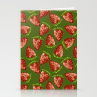 strawberry Stationery Cards featuring Strawberry by Julia Badeeva