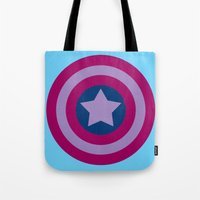 bisexual Tote Bags featuring American Pride (bisexual edition) by Nikki Homicide