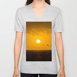 Sunset at Half Moon Bay Unisex V-Neck