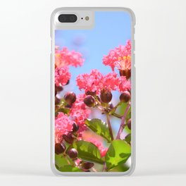 Blooming Pink Crepe Myrtle Flowers Clear iPhone Case