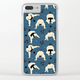 Sumo squat on blue Clear iPhone Case