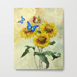 Summer Flowers and Butterflies Metal Print