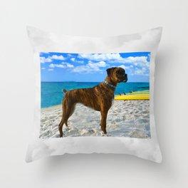 BOXER DOG SURFER BEACH BUM AND FRIEND Throw Pillow