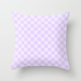 Large Chalky Pale Lilac Pastel Checkerboard Throw Pillow
