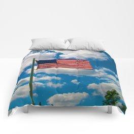 American Flag in Big Blue sky Comforters