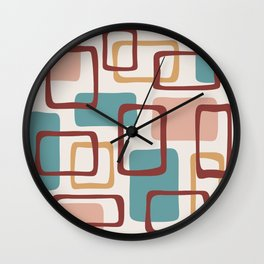 Mid Century Modern Abstract Squares Pattern 442 Wall Clock