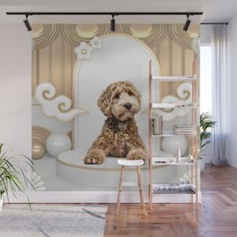 Goldendoodle Golden Background Photo Collage Wall Mural