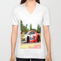 audi V-neck T-shirts featuring Flying Lizard Audi R8 | Road America by Phil Schroeder Design