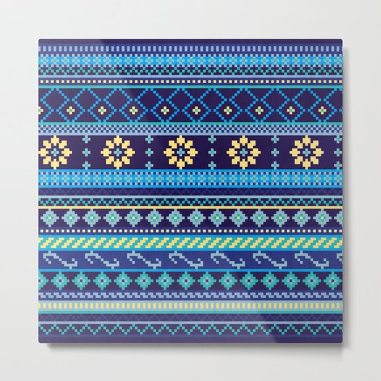 Cheery Blues Geometric Pattern Metal Print