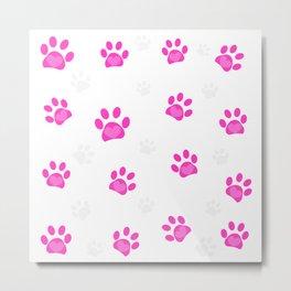 Pink heart paw prints pattern vector illustration Metal Print