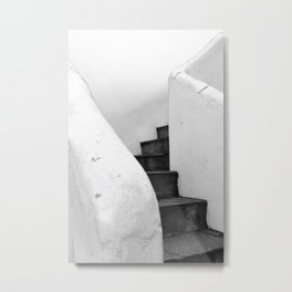 Black and White Stairs Metal Print