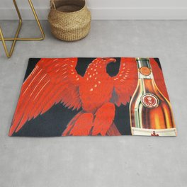 1910 Vintage Napoleon Aigle Rouge Cognac Alcoholic Poster by Leopold Brugerolle Rug
