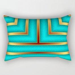 Art Deco Geometric Green and Gold Column Pattern Rectangular Pillow