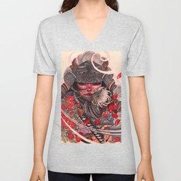 Female Samurai Warrior Unisex V-Neck