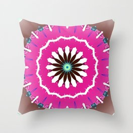 Bright Pink and White Flower Throw Pillow