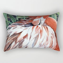 Preening Flamingo Rectangular Pillow