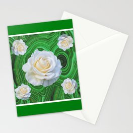 GREEN RUSSIAN MALACHITE GEMSTONE WHITE ROSES ART Stationery Cards