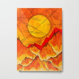 Bonfire Mountains Metal Print