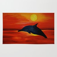 dolphin Area & Throw Rugs featuring Dolphin by Monica Georg-Buller