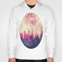 city Hoodies featuring Mysterious city by SensualPatterns