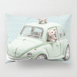 Road Pig on Blue Pillow Sham