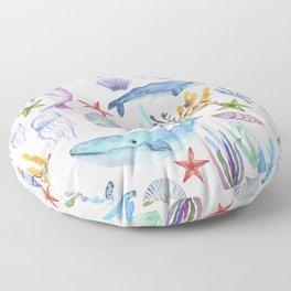 under the sea watercolor Floor Pillow