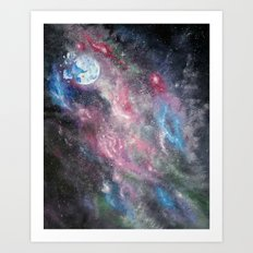 Space and the Moon Art Print