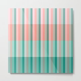 Soft Pink Peach Amber Yucca and Arbor Green Transluscent Stripes Metal Print