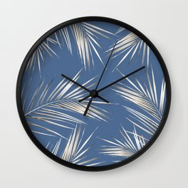 White Gold Palm Leaves on Ocean Blue Wall Clock
