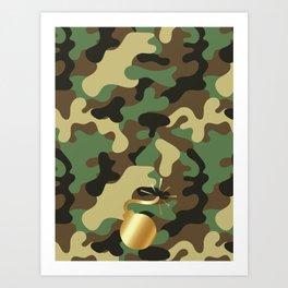 CAMO & GOLD BOMB DIGGITY Art Print