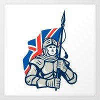 british flag Art Prints featuring Knight British Flag Retro by patrimonio