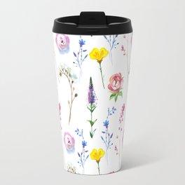 Hand painted watercolor lavender pink floral illustration Travel Mug