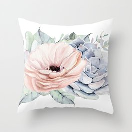 Pastel Succulents by Nature Magick Throw Pillow