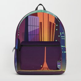 Gotham City at Night - Kitschy Cartoon New York City Manhattan Backpack