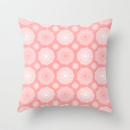 White Floral Mandala Pattern on Coral - Mix & Match with Simplicity of Life Throw Pillow