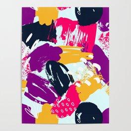Trendy Multi Colored Paint Splash Pattern Poster