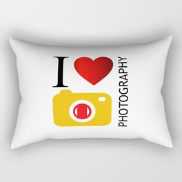 I love photography- Photography lovers passion- yellow camera Rectangular Pillow