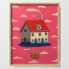 pink floating house Serving Tray