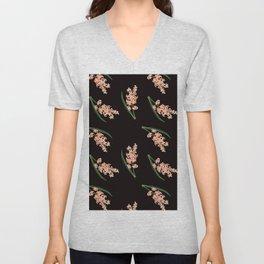 Peach Floral Toss in Black Unisex V-Neck