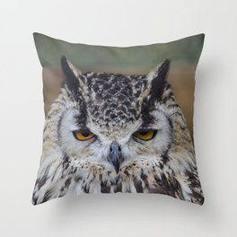 Angry Bengalensis Eagle Owl portrait. Throw Pillow