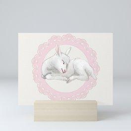 Sleeping Lamb in Pink Lace Wreath Mini Art Print