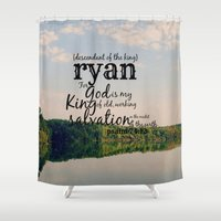 ryan gosling Shower Curtains featuring Ryan by KimberosePhotography