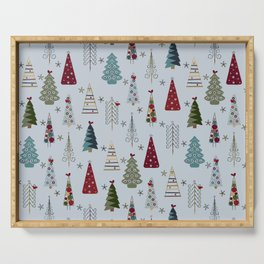 Scandinavian Christmas Trees Pattern - Blue Red Green Serving Tray