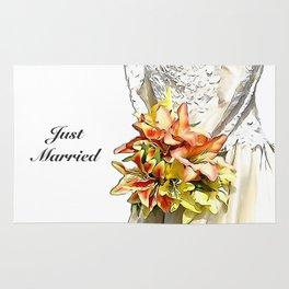 The bride had a orange lily bouquet Rug